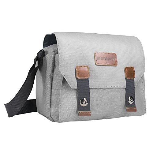 Mantona Kameratasche Milano piccolo (modische Universaltasche für Digital-Spiegelreflex-Kameras und Systemkameras plus Zubehör, Vintage, graues Interieur) grau