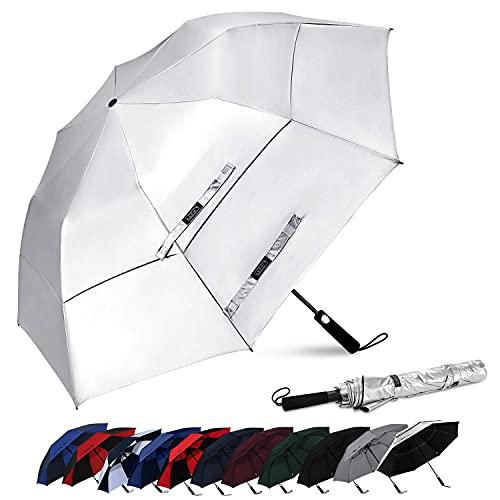 Paraguas de golf portátil de 62 pulgadas, tamaño extragrande, plegable, plegable, con doble ventilación, toldo a prueba de viento, impermeable, paraguas de lluvia (plateado) BJY969 (color : plateado)