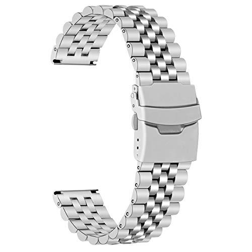 Juntan Correa de reloj plateada de 22mm con cierre plegable de acero inoxidable Correas de repuesto de reloj resistente 3D para hombres y mujeres