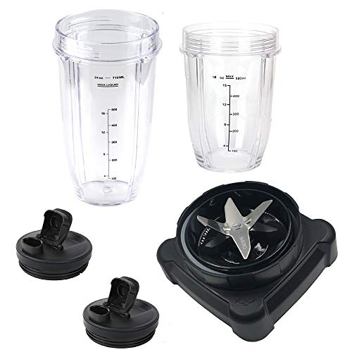 new style extractor blade with 18oz 24oz cup and spout lid for Ninja Professional Blender and Ninja Professional 72oz Countertop Blender BL660W/BL660/BL740/BL770/BL771/BL773CO/780
