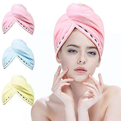 Haarturban, Turban Handtuch mit Knopf, 3 Stück Mikrofaser Handtuch für die Haare Schnelltrocknend, Haar Trocknendes Tuch für Lange Haare und Alle Haartypen