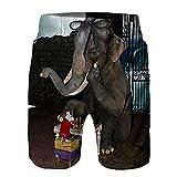 Bañador de Hombre,Animal Divertido Elefante y ratón Jugando al ajedrez,Natación Secado Rápido Pantalones Cortos Shorts de Playa para Swim 3XL