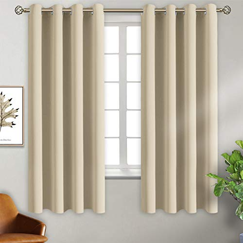 BGment Blackout Curtains for Bedroom - Grommet Thermal Insulated Room Darkening Curtains for Living Room, Set of 2 Panels (46 x 63 Inch, Beige)
