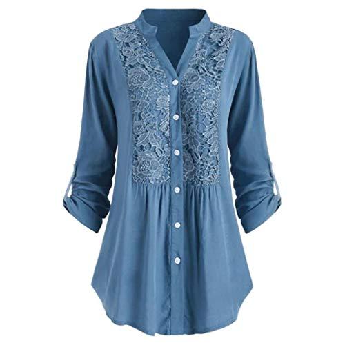 AmyGline Spitzenbluse Damen Langearm Hemd V Ausschnitt Oberteil Shirt Tunika Bluse Groß Größe Knopf Retro Elegant Langearmshirt Tops