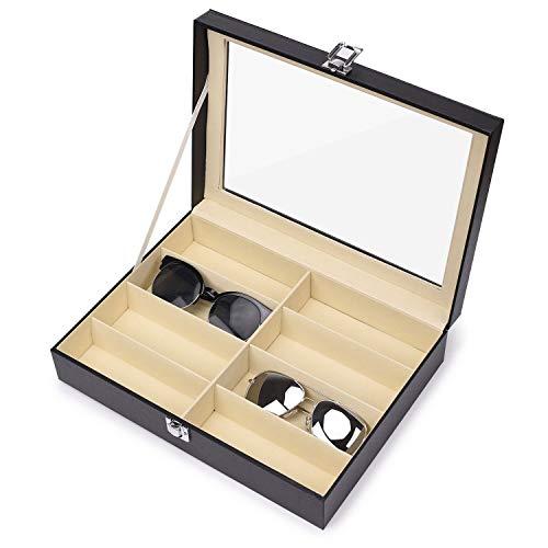 Jasinber Organizador de gafas, Caja de almacenamiento de gafas de sol de 8 ranuras (Negro)