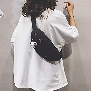 Fashion Single-Shoulder Bags Fashion Canvas Single Shoulder Bag Waist Chest Bag Messenger Bag with Panda Doll Decoration (Color : Black, Size : OneSize)