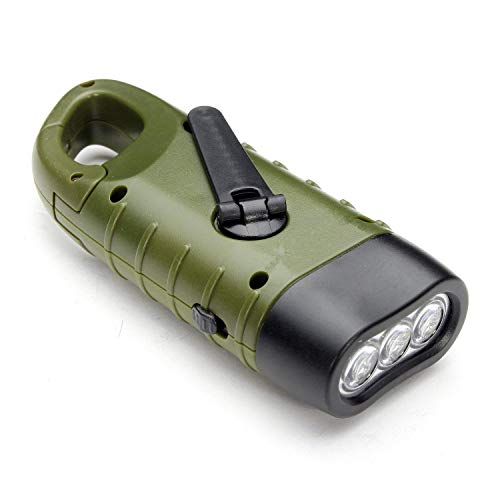 Handkurbelnde solarbetriebene wiederaufladbare Taschenlampe, Notfall-LED-Taschenlampe, Schnellverschluss, Rucksack-Taschenlampe, für Camping, Outdoor, Klettern, Wandern
