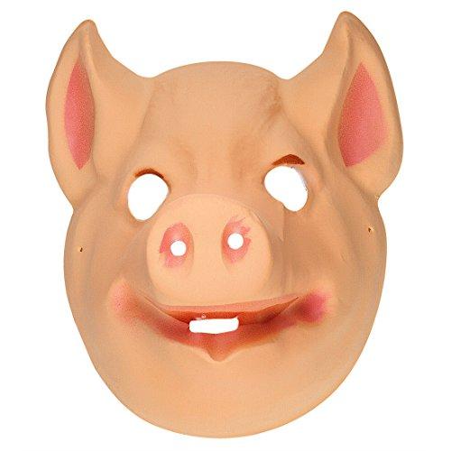 Amakando Masque pour Enfant Cochon en Plastique tête porcelet Animal de la Campagne Farm Visage Petit Cochon déguisement Carnaval fête