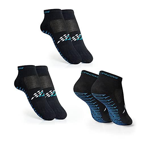 DAPPER RACING   Set di 3 paia di calzini SIMRACING con silicone antiscivolo sulla suola   Presa ottimale su pedali e talloni di guida   Tessuto traspirante e confortevole.