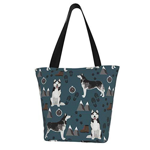 Personalisierte Leinen-Tragetasche, Husky Wandern, dunkelmarineblau, Husky Berge, Hund, waschbare Handtasche, Umhängetasche, Einkaufstasche für Frauen