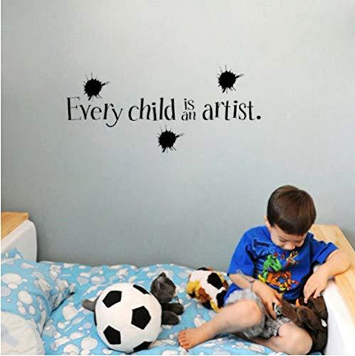 GVFTG Cartoon Ieder Kind is Artist's Art Deco PVC Inspirational Muursticker, Geschikt voor Kinderkamer 74X34cm