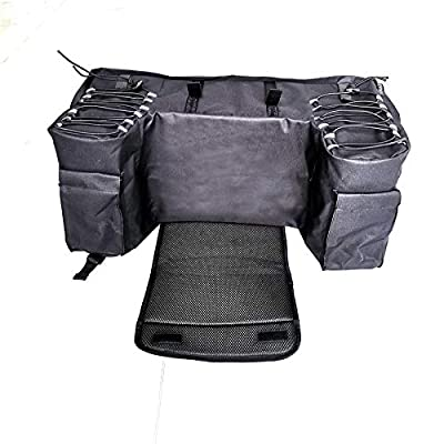 Black Rear Bag Padded Seat Bottom Support Storage Pack Rack Back for Off Road Motorcycle ATV Front and Rear Facks Placed Durable Straps and Ladder Lock Buckles Fixed