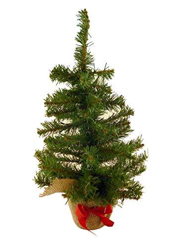 albero di natale 45 cm 45cm Green Desktop Christmas Tree - Base in maglia marrone e fiocco rosso - Decorazioni natalizie.