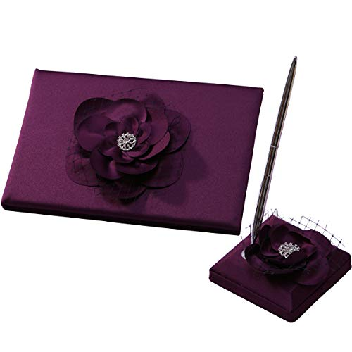 KateMelon Wedding Decoration, Fuchsia Flower Wedding Guest Book and Pen Set