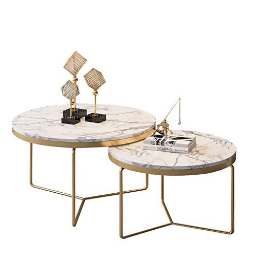 Tavolino da caffè Alto e Basso, Pannello in Marmo, Base a Struttura Triangolare, Stile Semplice, Liscio e Delicato, Soggiorno Domestico Decorazione Creativa, Rotondo