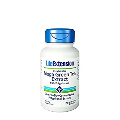 Life Extension Mega Green Tea Extract, Decaffeinated, 100 Veggie Caps, From