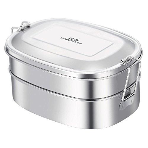 G.a HOMEFAVOR Caja de Almuerzo de Acero Inoxidable Caja de Bento 2 en 1 Caja de Alimentos Respetuosa del Medio Ambiente