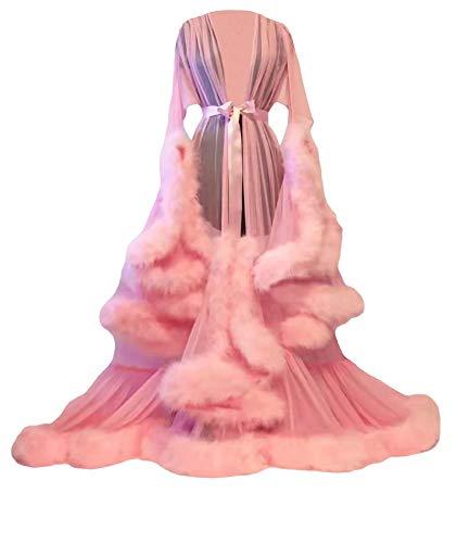 HAHAEMMA Damen Robe Sexy Illusion Lange Dessous Nachthemd Bademantel Nachtwäsche Feder Braut Robe Hochzeit Brautjungfer Schal