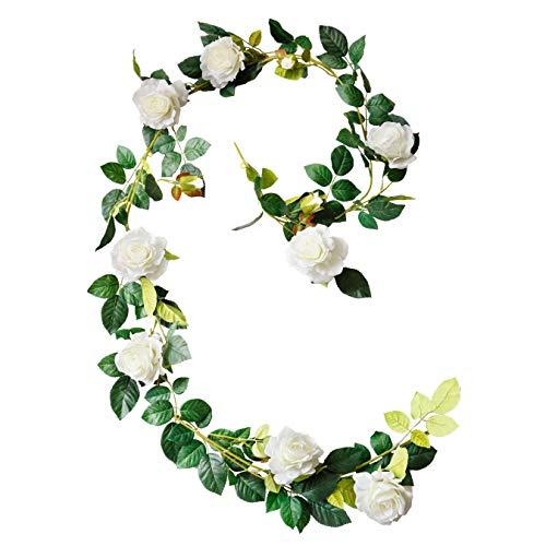 DuHouse künstliche gefälschte Rosengirlande hängende Seidenblume künstliche Blume für Außen- und Innenhochzeitsbogen Gartendekor 1pcs(weiß)