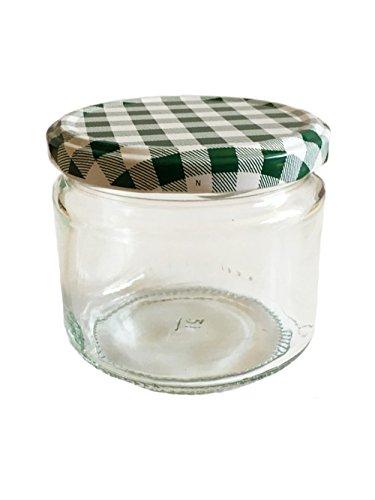 330ml 45 Stück Sturzgläser R&gläser Deckelfarbe Grün Karriert mit Deckel Vorratsgläser Marmeladengläser Einmachgläser Einweckgläser