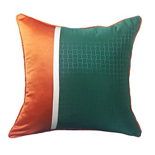 QMZ Fundas de Cojines Funda de Almohada Cuadrada de Alta precisión de Lujo Verde-Naranja Claro (sin núcleo) decoración de sofá Minimalista Moderna Funda de Almohada Grande 60cm