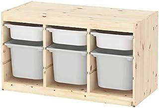 IKEA/イケア TROFAST:収納コンビネーション ボックス付き94x44x53 cm ライトホワイトステインパイン/グレー/ホワイト(493.287.70)