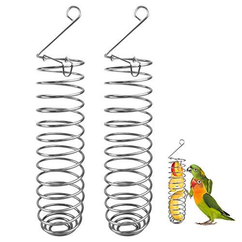 Papagei Vogel Futterkorb 2 Stücke Edelstahl Papagei Hängend Obst Feeder Gemüse Hirse Halter Vögel Käfig Füttern Zubehör für Sittiche, Conure, Aras, Liebesvögel, Finken, Mynah