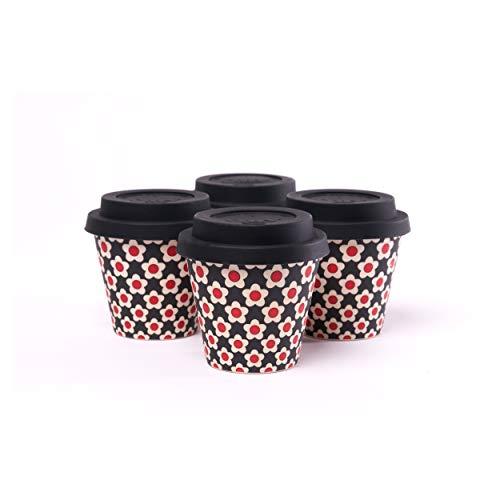 QUY CUP. Daisy Black. Taza de Café Espresso de Bambú -Set de 4. 90ml. Tazas Reutilizables Para Viaje. Exclusivo Diseño Italiano.Hechas de Fibras Naturales. Sin BPA. Café Para Llevar