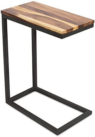 Best BirdRock Home Acacia Wood TV Tray C Shaped Side Table - End Table - Industrial Design - Fully Assemb