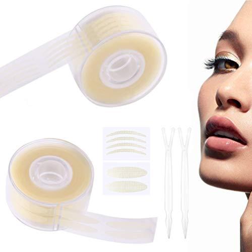 Unsichtbare Doppelte Augenlid Band Augenlid-Tape Instant Lift Unsichtbarer Augenlid Aufkleber Schlupflid Tape(Wasserfest, 24h Halt,) Ultra mit 2 Stück Gabelstangen, Hautfarbe1200 Stück