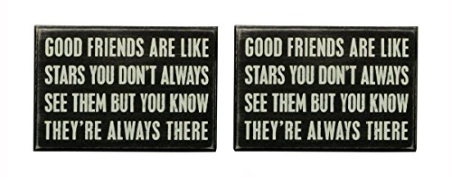 Primitives by Kathy Good Friends, Wooden Box Sign Set of 2, 6' X 4' X 1.75'