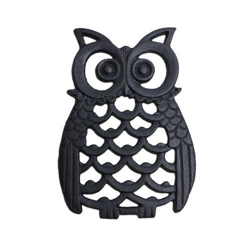 Black Finish Cast Iron Owl Wall Art Ornament for Garden or Home