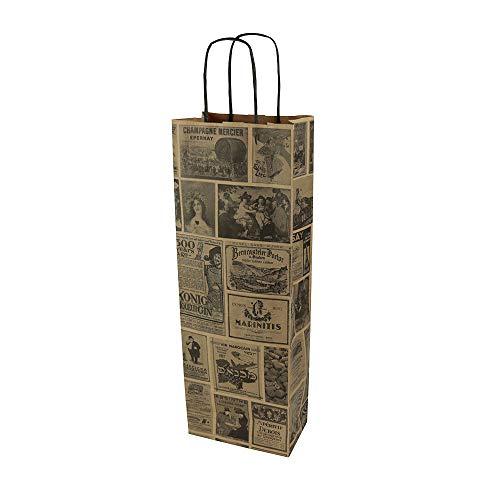 BIOZOYG Sacs pour Bouteille Pochettes Cadeaux avec poignée 14x8x40cm en Papier Kraft grammage 100 G M2 Emballage de Bouteilles I Pochette à vin I Sachet en Papier I 25 pièces Natur Bacchus