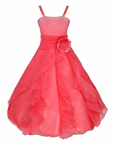 IEFIEL Vestido de Fiesta Boda Ceremonia Bautizo Niña Verano Vestido Largo Flores Vestido en Tutu Princesa sin Mangas Disfraz Infantil Rojo de Sandía 12 años