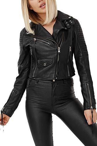 trueprodigy Casual Mujer Marca Chaqueta De Cuero Autentica Ropa Retro Vintage Rock Vestir Moda Moto Verano Manga Larga Slim Fit Designer Fashion Jacket, Colores:Black, Tamaño:XS