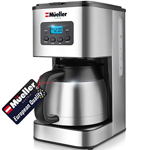 Mueller Austria Ultra Brew Thermal Coffee Maker, 8 cup (34oz) Carafe, Keep Warm, Auto Shut-Off, LCD Display Coffee Machine, Programmable, Delay Brew Function, Stainless Steel