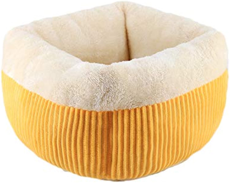 PLDDY Cat Nest, Pet Basket, Semienclosed Deep Sleep Cat Sleeping Bag, Four Seasons Usable, Comfortable Arctic Velvet Small Teddy Kennel, Nonslip Cat House (color   Yellow, Size   52x52cm)