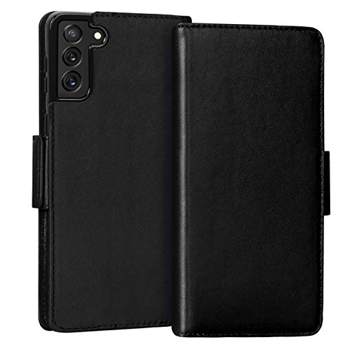 "FYY Case for Samsung Galaxy S21 5G 6.2"" Luxury [Cowhide Genuine Leather][RFID Blocking] Wallet Case Handmade Flip Folio Case Cover with [Card Slots] for Galaxy S21 5G Black"