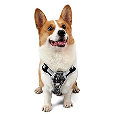 Koneseve Dog Harness No-Pull Adjustable Dog Vest Harness Reflective Outdoor Pet Harness Soft Mesh Padded Nylon Straps Front Clip Easy Control for Small Medium Large Breed Dogs Walking Training Black
