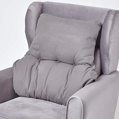 HOMESCAPES Cojín Lumbar ergonómico, cojín de posicionamiento de Respaldo de algodón, para Silla, sillón y Coche, Gris Pizarra, 58 x 68 x 15 cm