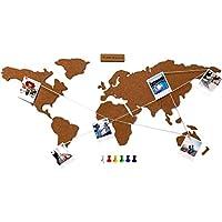 Flamingueo Mapa Mundi Corcho Pared - Mapamundi Grande con Chinchetas para Fotos, Mapa Mundi Pared para Marcar Viajes, Mapamundi Corcho para Pared, Mapa Mundo, 45,5 x 100 cm (Mapa Mundi Corcho)
