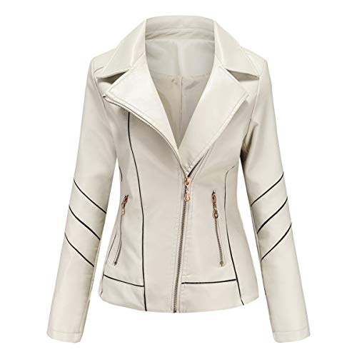 Hiser Kunstlederjacke Damen, Herbst und Winter Kurze Jacke Casual PU Lederjacke Bikerjacke mit Reißverschluss und Tasche (Weiß,4XL)