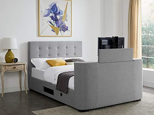 LPD Mayfair Grey Fabric TV Bed - 4ft6 Double 5ft Kingsize(5ft Kingsize)