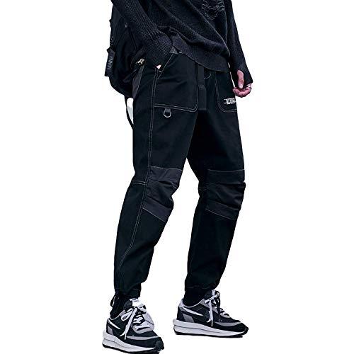 Pantalones Cargo de Moda para Hombre, Pantalones de harén Informales con Cintura elástica con cordón Suelto y Costura de Retazos Medium