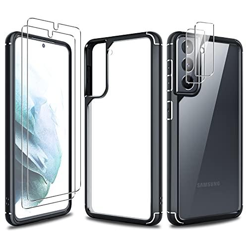 TAURI Cover Samsung Galaxy S21 5G Custodia con 2 Pezzi Pellicola Vetro Temperato e 2 Pezzi Pellicola Fotocamera, Silicone Trasparente Bumper Morbido TPU Case-Nero