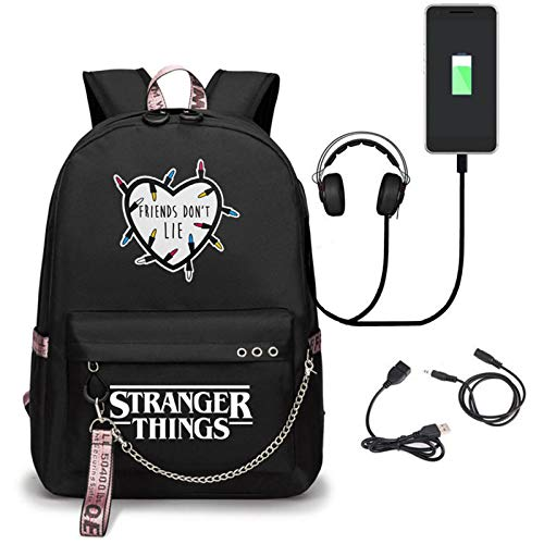 Stranger Things Rucksack Damen Herren Stranger Things Schulrucksack Mädchen Jungen Laptop Rucksack Schulranz Schultasche Wasserdicht Backpack Daypacks mit USB-Ladeanschluss (A3)