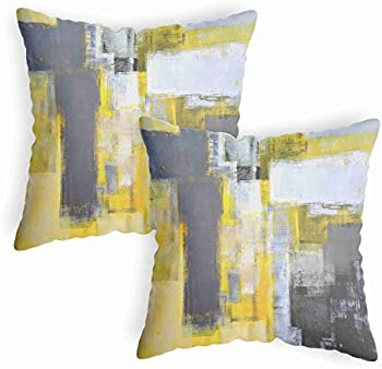 2-Pack LucaSng Abstract Yellow Throw Pillow Covers