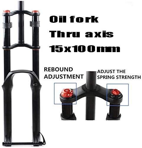Guoyun Fietsverende voorvork voor mountainbike, 26/27,5/29 inch, dubbele schouder, hydraulisch afsnoeren, dempingsschijfrem, DH/AM/FR 1-1/8 inch, veerweg 130 mm