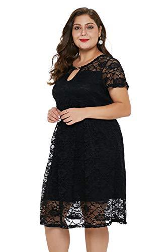 DarkCom vrouwen Plus Size Midi jurk, elegante chiffon kant gestikte rok met korte mouwen A-lijn jurken voor dames