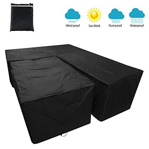 Funda para sofá de esquina de jardín, impermeable, lona de protección para salón en forma L, antirayos UV, cubierta para muebles exteriores para jardín, terraza